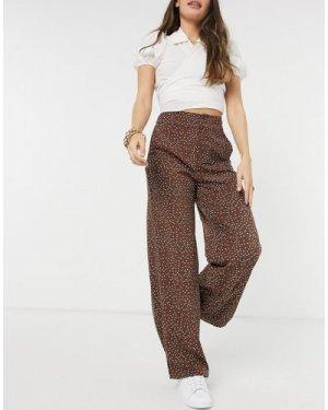 Fashion Union wide leg trousers in brown base spots