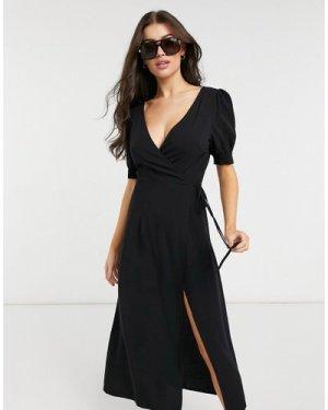 Fashion Union Exclusive beach wrap dress in black