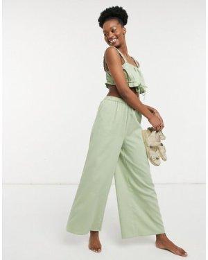 Fashion Union Exclusive high waist wide leg beach trousers in grass green co-ord