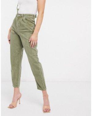 Mango pleat top slouchy jeans in khaki-Green