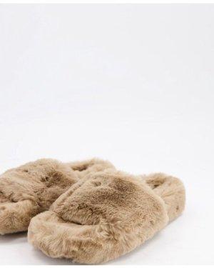 Mango fluffy slider slippers in mocha-Pink