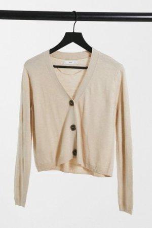 Mango button front fine knit cardigan in beige-Black