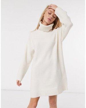 Mango roll neck knitted jumper dress in cream-Beige