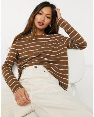 Mango stripe long sleeve t-shirt in brown