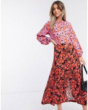 Closet London long sleeve split midi dress in lilac floral-Multi