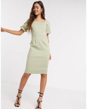 Closet London belted pencil midi dress in khaki-White