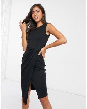 Closet London wrap skirt midi dress in black