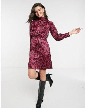 Closet London high neck twist satin mini dress in animal spot-Multi