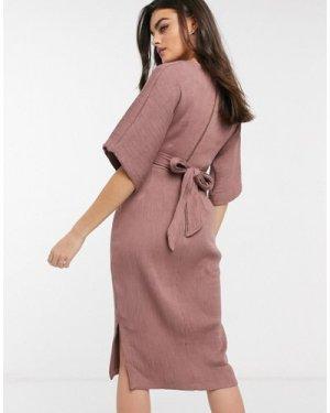 Closet London ribbed tie kimono sleeve midi dress in winter rose-Pink