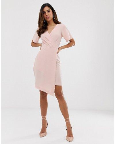 Closet pleated asymmetric dress-Pink