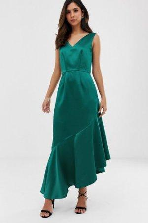 Closet asymmetric frill dress-Green