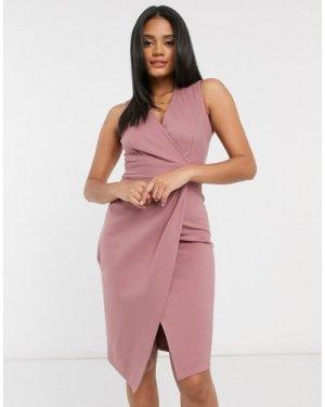 Closet London gathered wrap midi dress in mink-Pink
