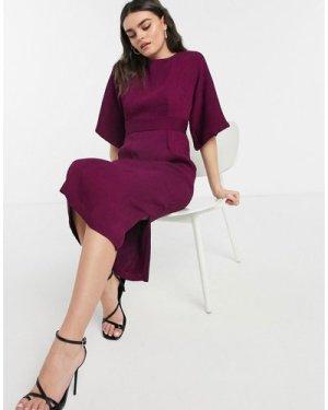 Closet London ribbed pencil dress in plum-Purple