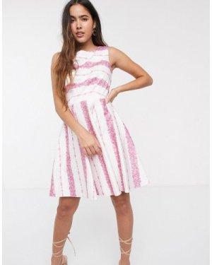 Closet stripe skater dress-White