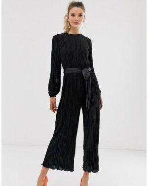 Closet pleated wide leg jumpsuit-Black