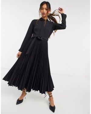 Closet London wrap tie shirt midi dress in black