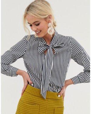 Closet tie neck blouse-Navy
