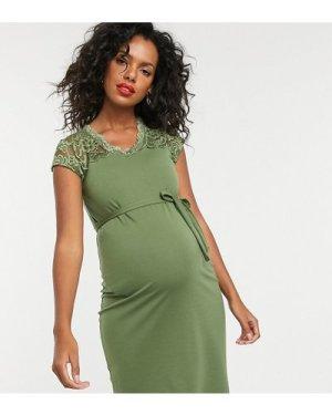 Mamalicious lace panelled midi dress-Green