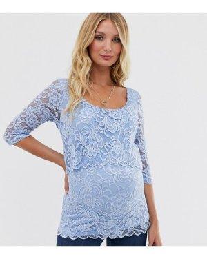 Mamalicious nursing lace blouse-Blue