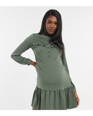 Mamalicious Maternity mini dress with peplum hem in khaki-Green