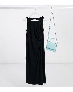 Mamalicious Maternity midi dress with twist detail in black