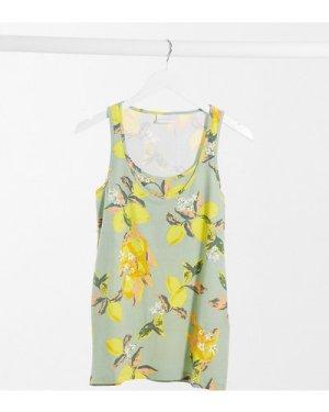 Mamalicious longline vest in lemon print-Yellow