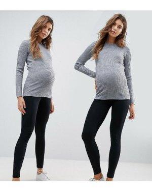 Mamalicious Maternity 2 pack organic leggings in black-Multi