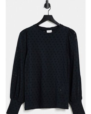 Mamalicious Maternity long sleeve top with cut-out detail and deep cuffs in black