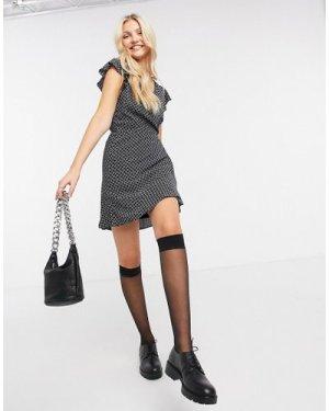 Abercrombie & Fitch print wrap dress in black