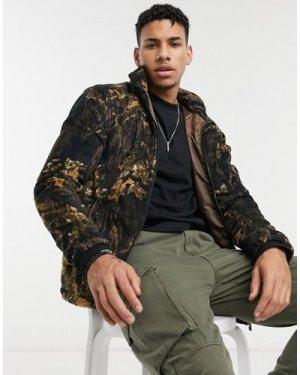 Le Breve fleece funnel neck printed jacket in camo-Brown