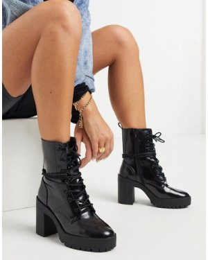 London Rebel chunky lace up platform boots in black