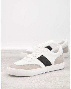 London Rebel side stripe lace up trainers in white with black