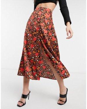 Liquorish midi skirt inbrown leopard and heart print-Multi