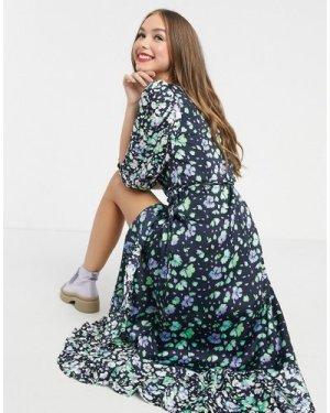 Liquorish maxi wrap dress in navy floral print