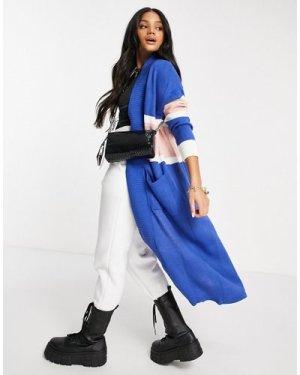 Liquorish maxi cardigan in college stripe in blue