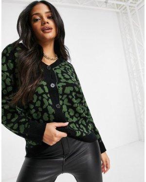 Liquorish cardigan in leo print in black and green-Multi
