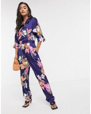 Liquorish wrap jumpsuit in navy floral-Multi