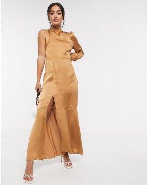 Liquorish one sleeve drop hem dress in camel-Tan
