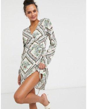 Liquorish mini wrap dress in mixed print-Multi