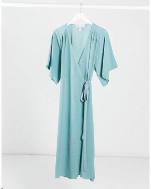 Liquorish wrap dress in sage green