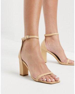 RAID Dania square toe heeled sandals in blush-Beige