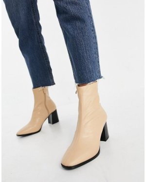 RAID Freya heeled ankle boots in camel leather look-Beige