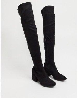 RAID Kola black round toe over the knee boots