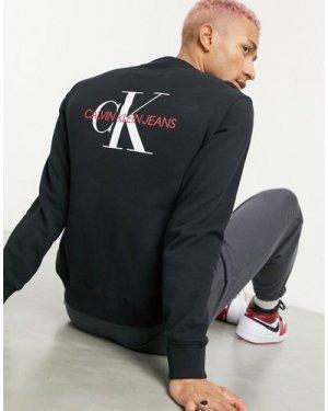 Calvin Klein Jeans monogram back logo sweatshirt in black