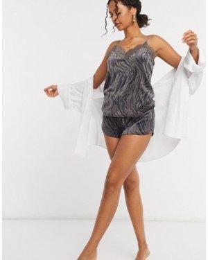 Hunkemoller lace trim velour cami in animal print-Grey