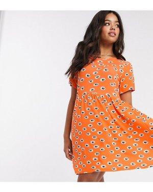 Wednesday's Girl mini smock dress in summer floral-Orange