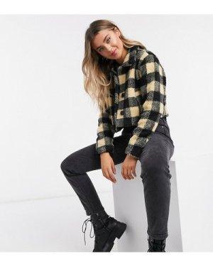 Wednesday's Girl trucker jacket in borg check-Black
