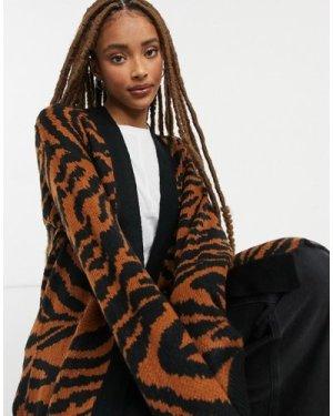 Wednesday's Girl longline cardigan in animal print-Brown