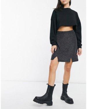 Wednesday's Girl 90's mini skirt with notch splits in glitter co-ord-Black