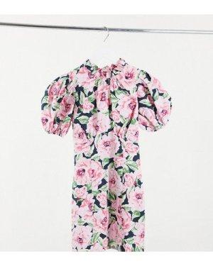 Miss Selfridge Petite poplin dress in floral blooms-Black